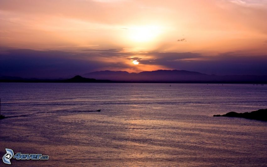 sunset over mountains, sea