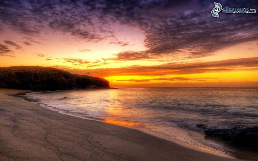 sunset over the beach, sand, sea