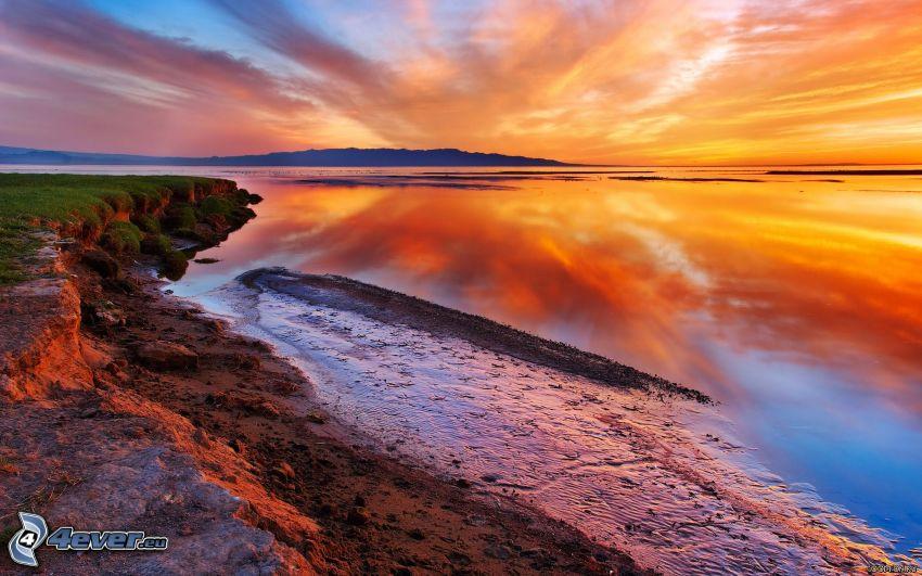 sunset over the sea, beach