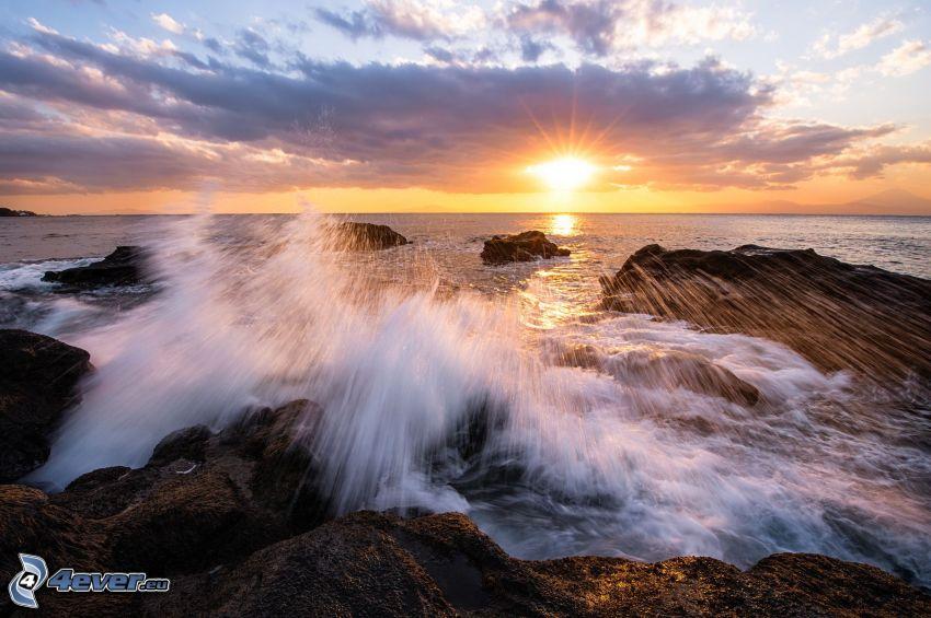 sunset over the sea, rocky coastline, sky