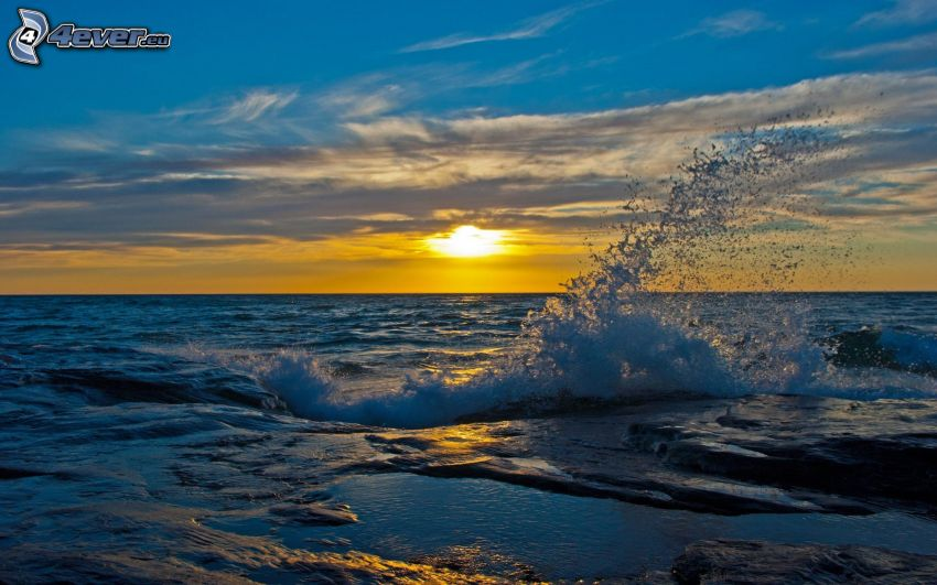 sunset over the sea, wave