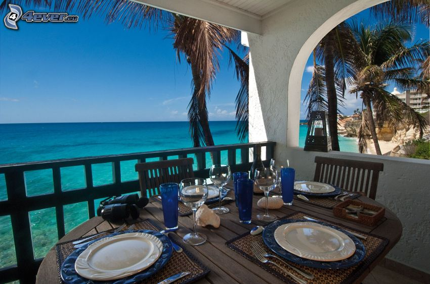 terrace, set table, the view of the sea