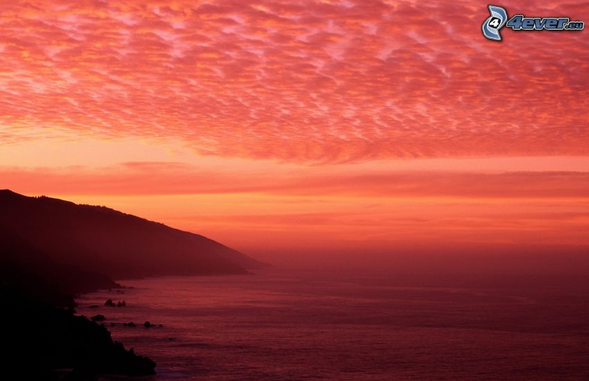 the view of the sea, coast, red sky