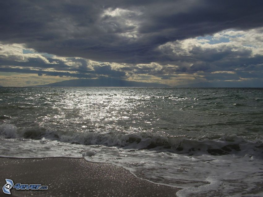 water, island, sky, cloud, beach, wave
