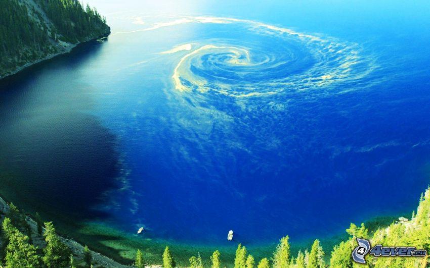 whirlpool, sea, bay