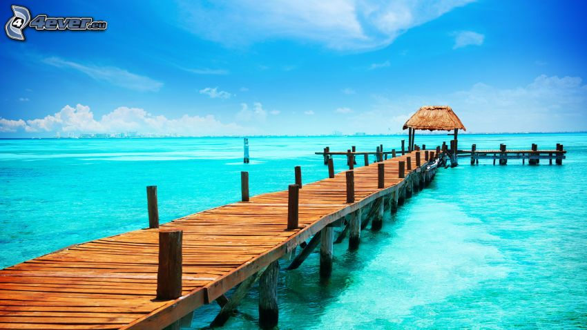 wooden pier, open sea