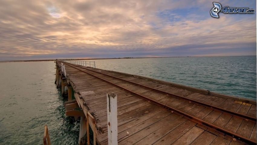 wooden pier, sea, old rails