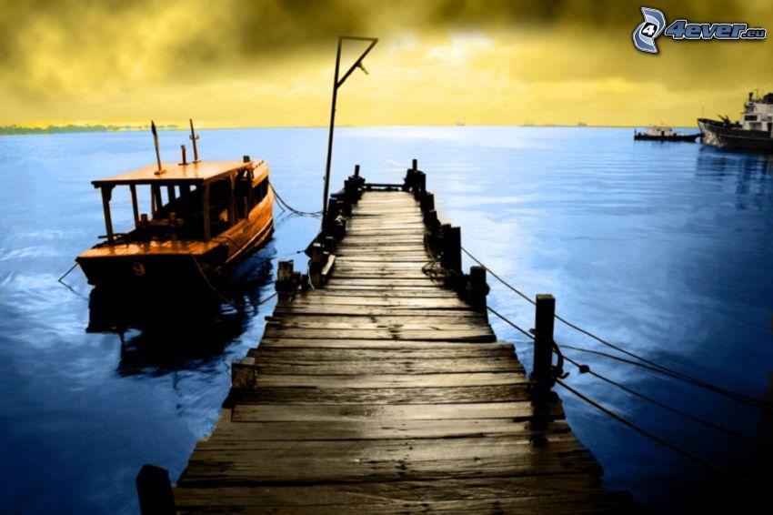 wooden pier, ship, sea