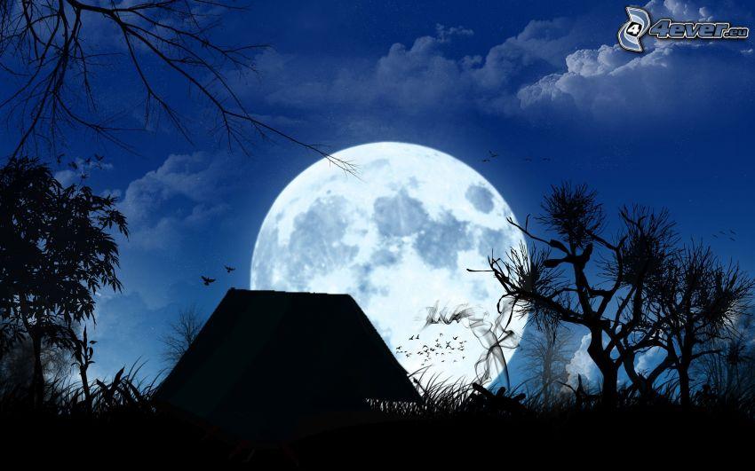 silhouette, Moon, cottage, full moon
