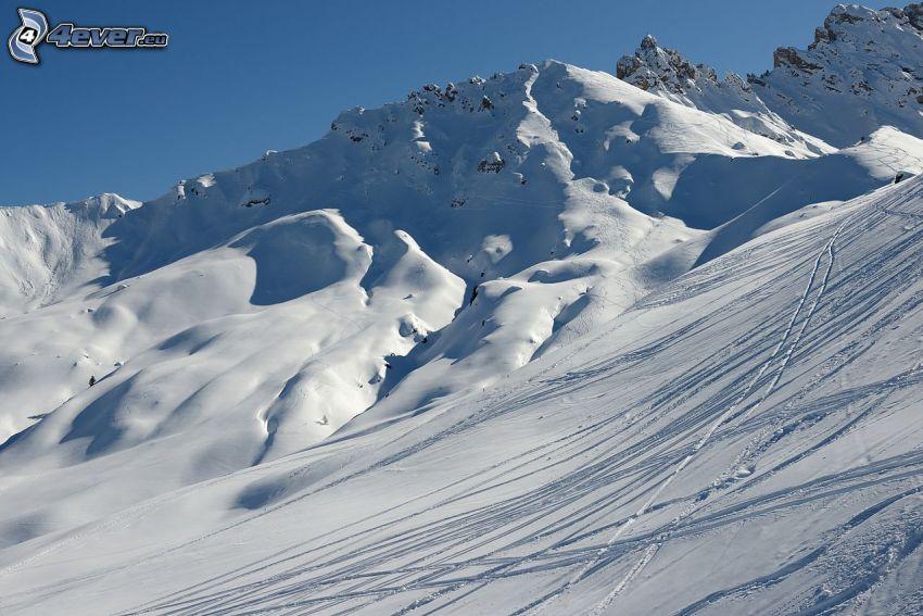 ski slope, snowy hill, tracks in the snow