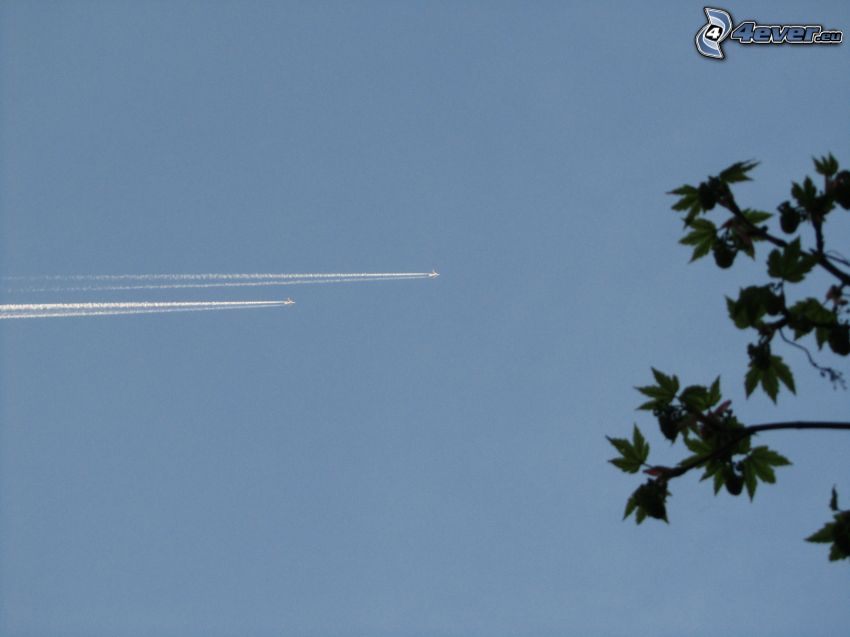 airplanes, sky, contrail