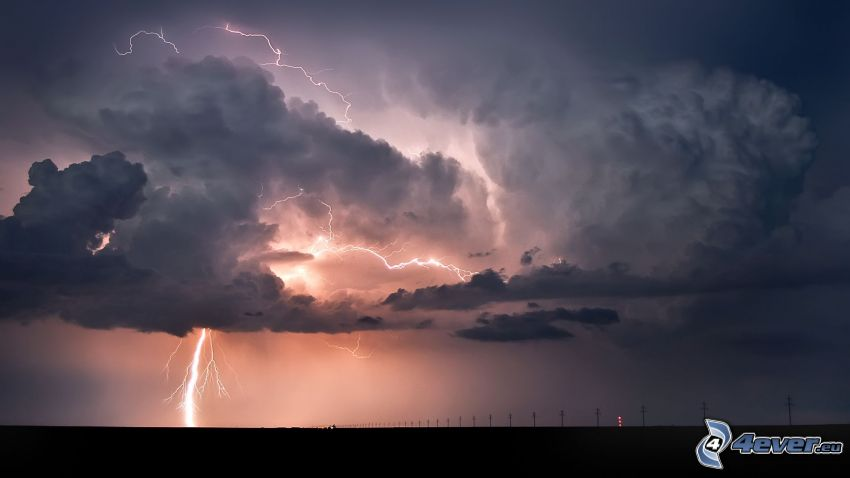clouds, lightning