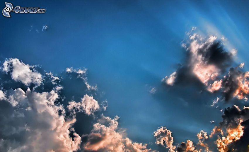 clouds, sunbeams