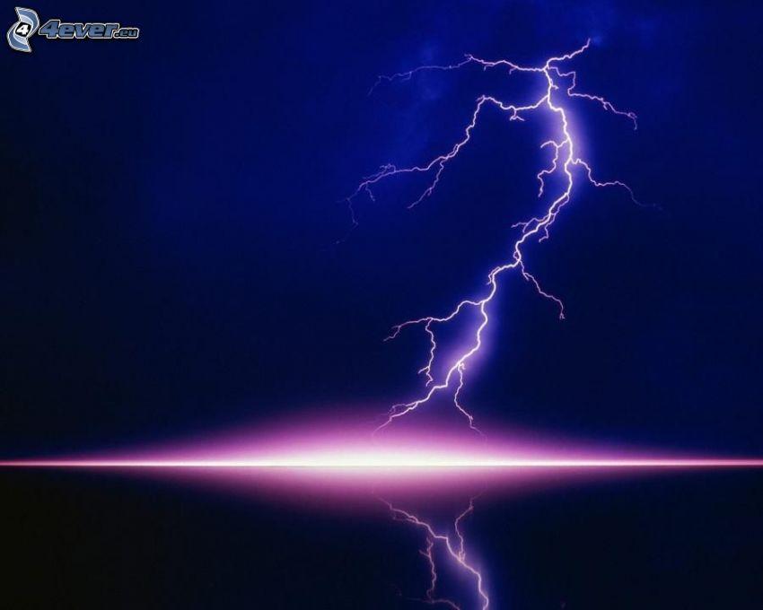 lightning, glow, reflection