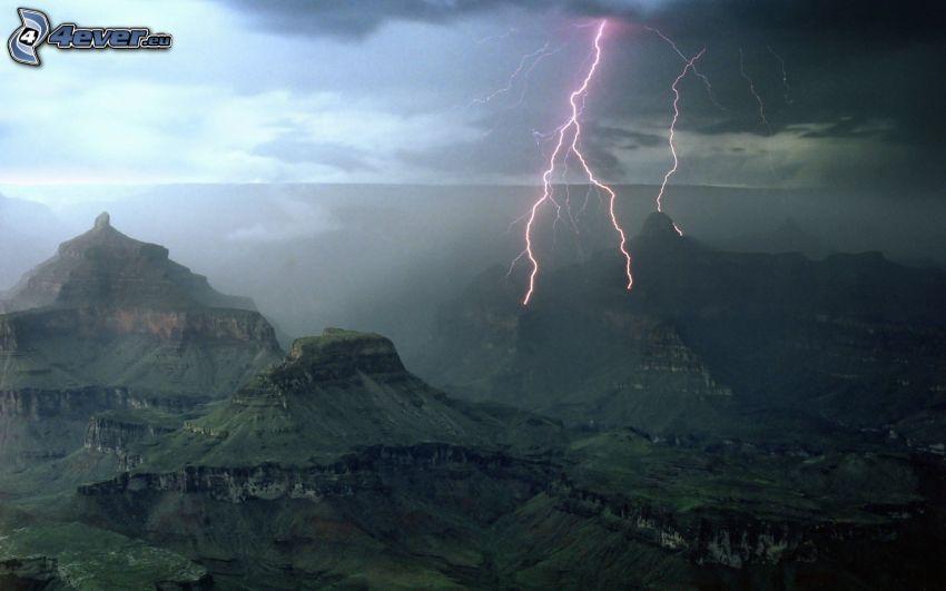 lightning, mountains