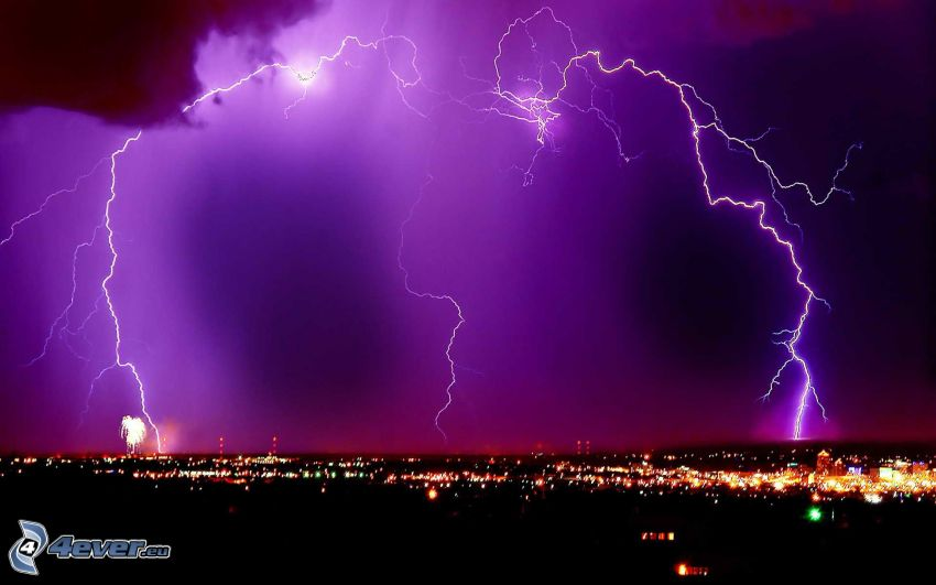 lightning, purple sky, night city