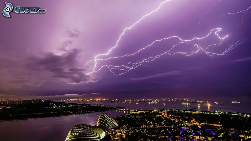 lightning, purple sky, view of the city, night