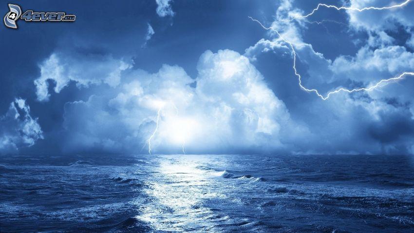 lightning, storm, sea