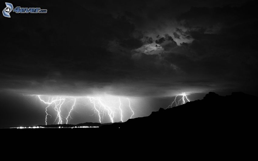 lightning, storm clouds, black and white