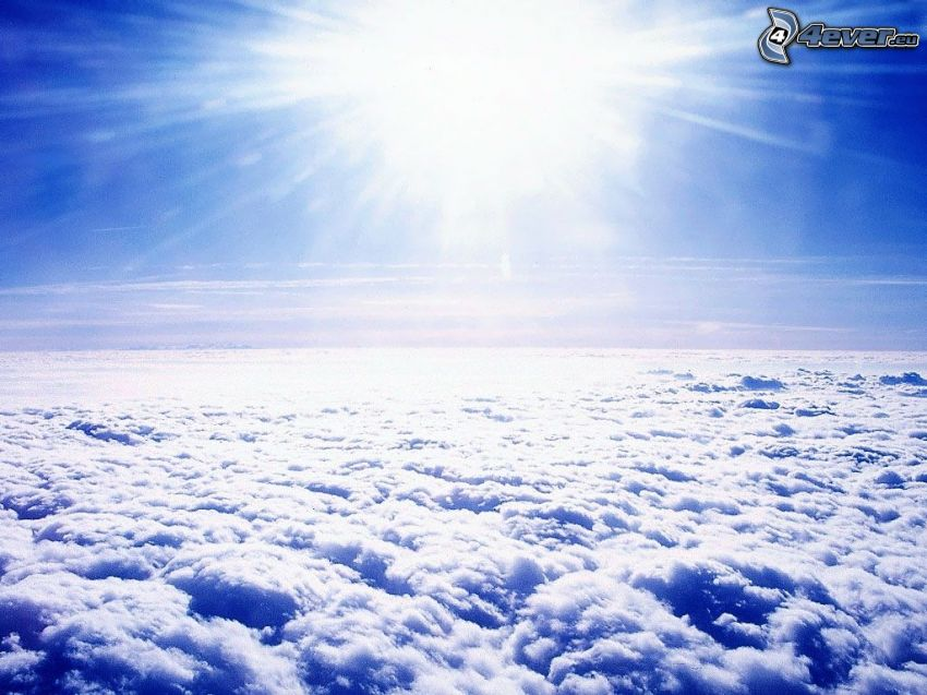 over the clouds, sun