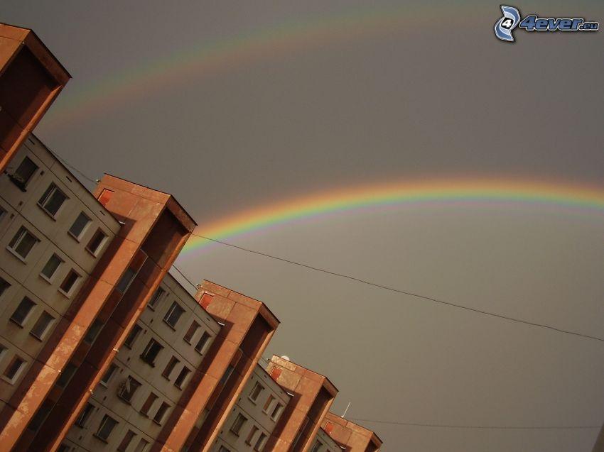 rainbow, block of flats