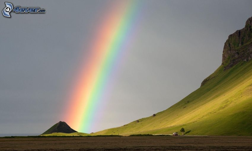 rainbow, hill, field
