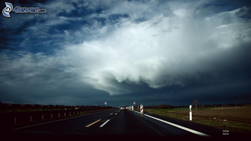 road, storm clouds