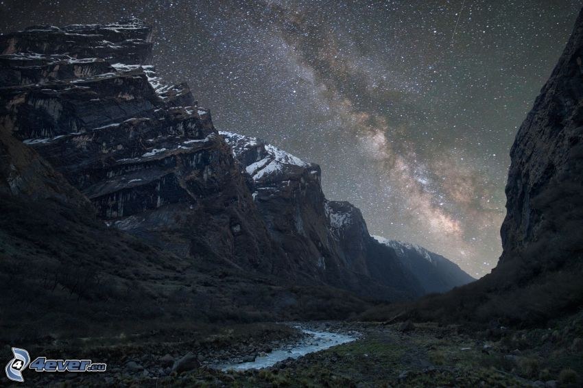 rocky mountains, Milky Way, starry sky