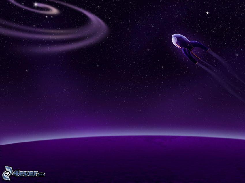 spaceship, starry sky