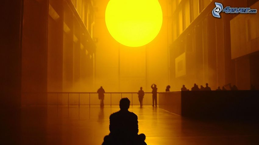sun, silhouette of a man
