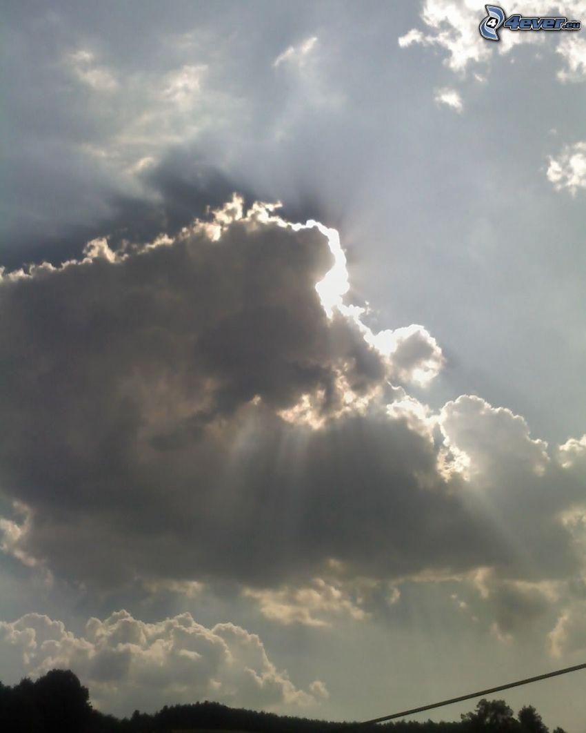 sunbeams behind clouds, sky, cloud