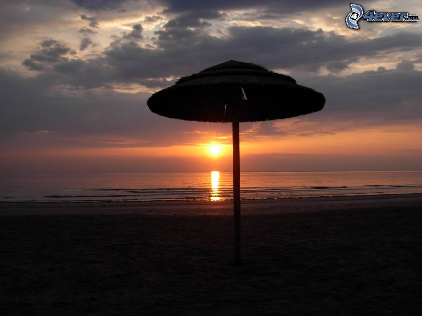 sunset over ocean, sea, parasol on the beach