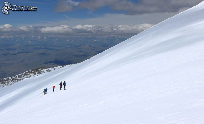 snowy hill, tourists, view