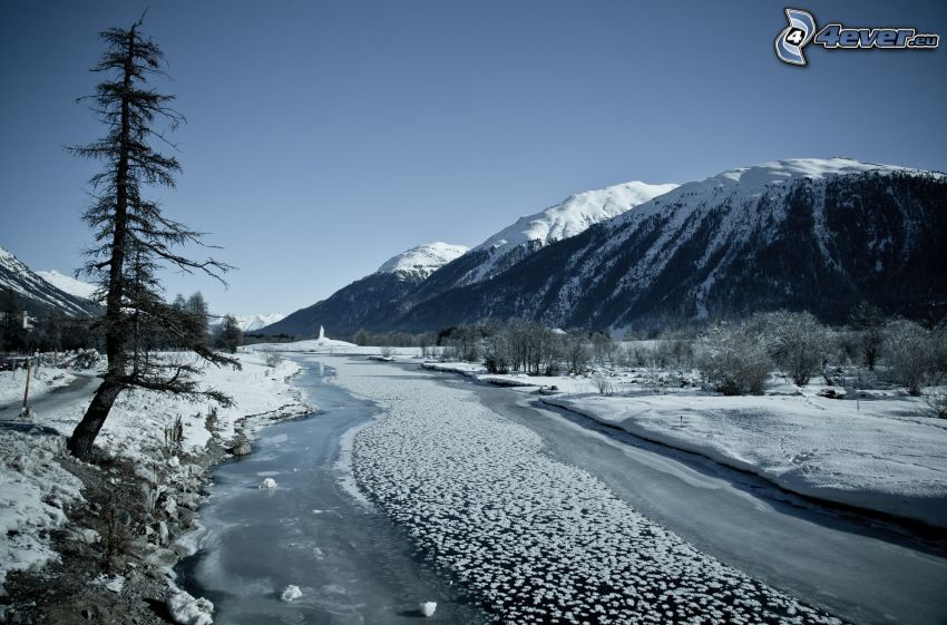 snowy landscape, frozen river, snowy mountains