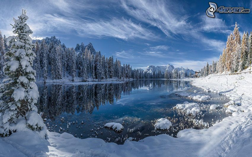 snowy landscape, mountain lake, snowy forest