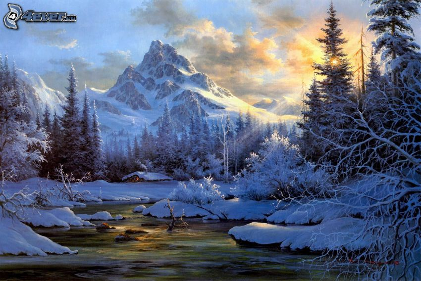 snowy landscape, sunbeams, winter river, rocky mountains, snowy trees