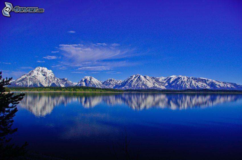 snowy mountains, lake, reflection