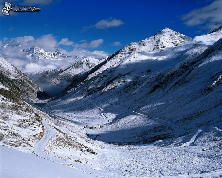 snowy mountains, valley
