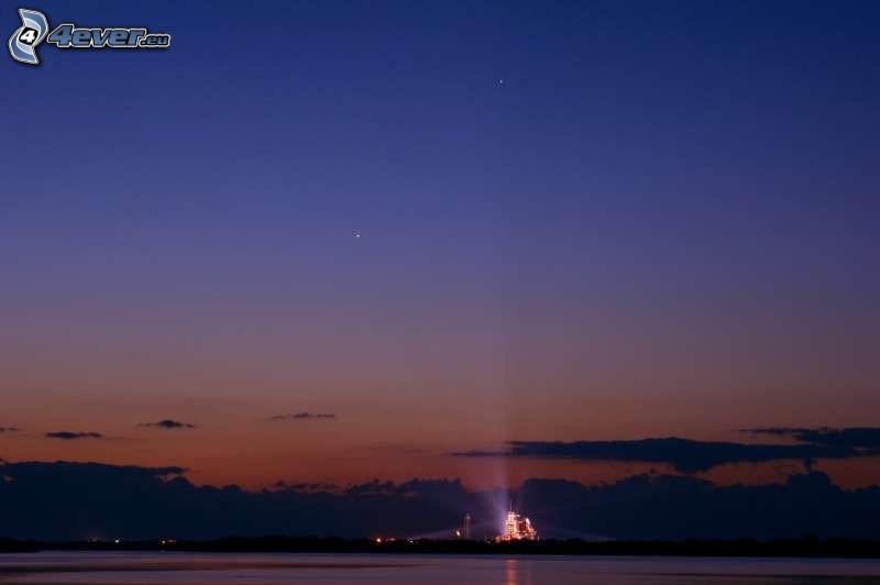 space shuttle start, night, light