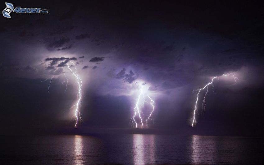 storm, lightning, sea