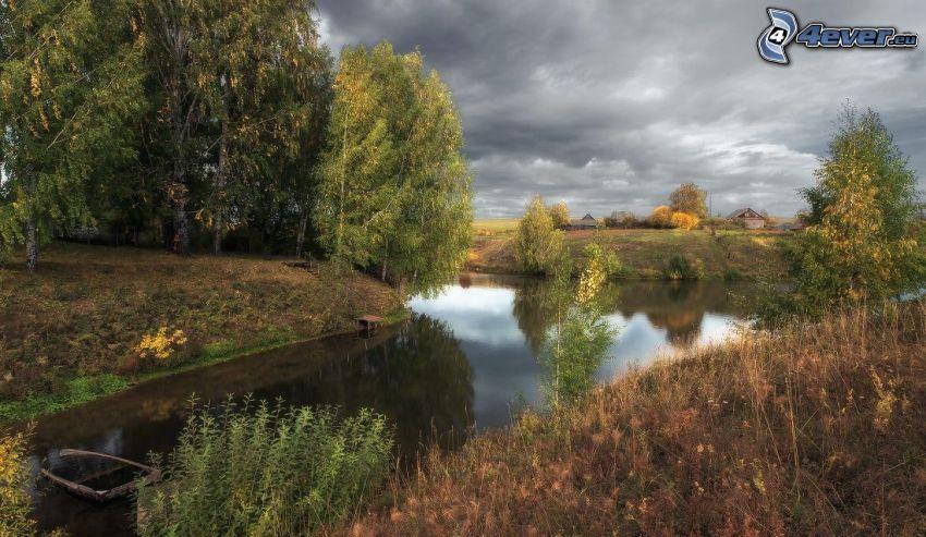 stream, autumn trees