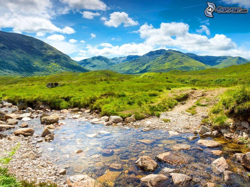 stream, green grass, hills