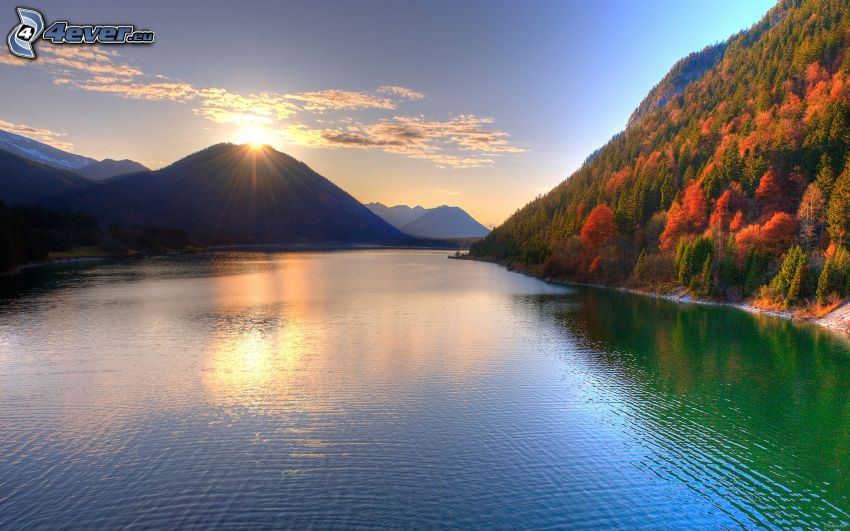 sunset over the lake, hills, HDR