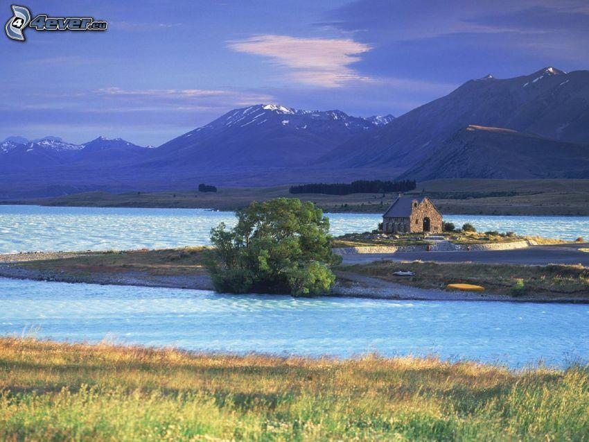Tekapo, lake, island, mountain, house