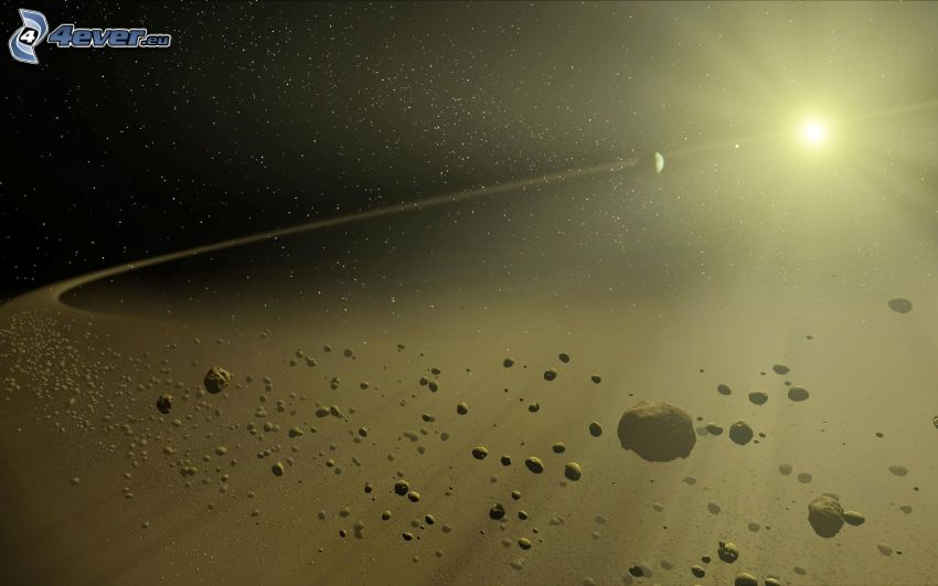 asteroid belt, sun, Earth