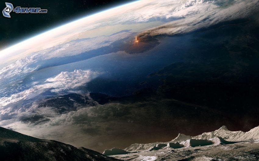 digital landscape, Earth, moon