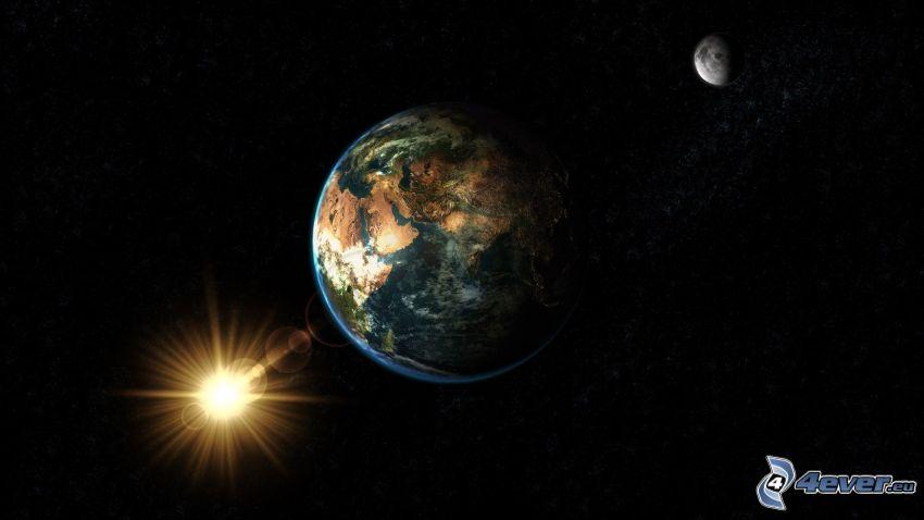 Earth, Moon, sun