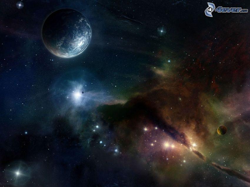 Earth, nebula, stars