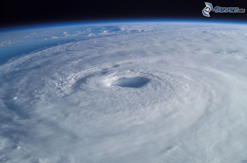 eye of hurricane from space, Earth