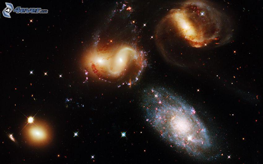 galaxies, stars